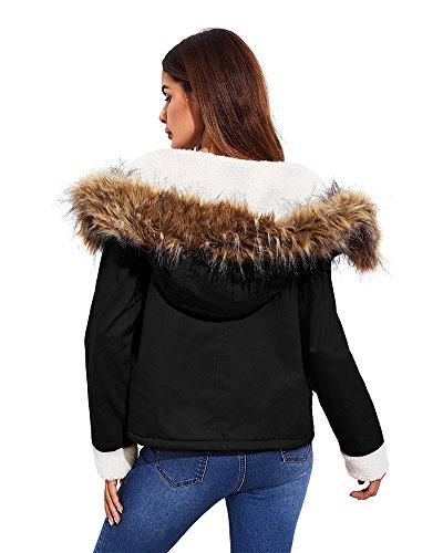 Hooded Negro Clásico Invierno Sportswear Minetom Casual Parka Sudadera Chaqueta Larga Abajo Algodón Coat Mantener Mujer Deportivo Caliente Mangas Para wF67U