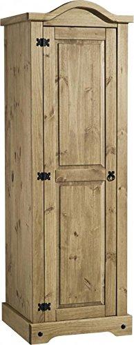 pretty nice 663ff 4dea4 Seconique Corona 1 Door Wardrobe, Distressed Waxed Pine, 184.5x60x56.5 cm