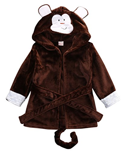 Baby Cartoon Animal Style Bath Robes Toddler Unisex Kids Hooded Tower Pajamas (2-3 Years, Coffee Monkey) -