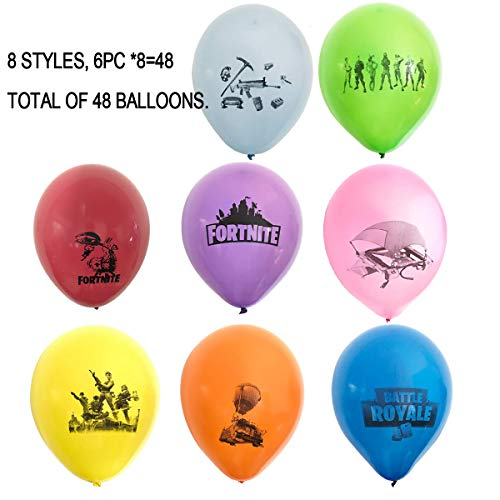 48 PCS FORTNITE 12 Latex Balloons,Fortnite Kids Favorite Gaming Party Decoration Supplies,8 Colors and 8 Designs