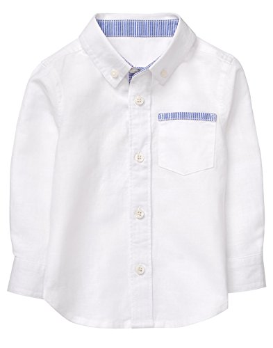 Gymboree Baby Boys Long Sleeve Button up Shirt, White, 12-18 Mo by Gymboree