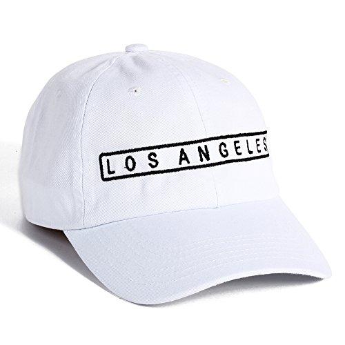Los Angeles City Embroidered Hat LA Adjustable Baseball Cap Vintage Cap (White)