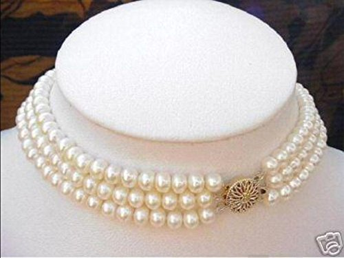 3 Strand Natural 7-8mm Freshwater Cultured Pearl Choker Necklace 17-19'' AAA+ (Necklace Pearl Strand Choker)