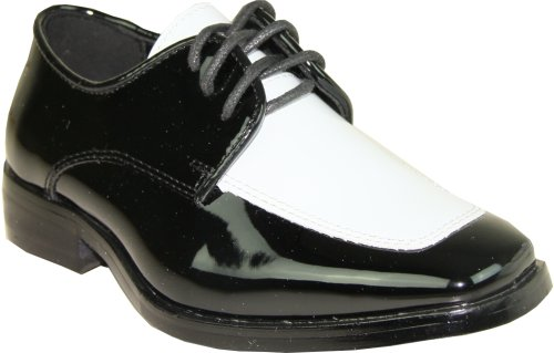 Patent Moc (VANGELO Boy Tuxedo Shoe TUX-3K Two-Tone Square Toe Wrinkle Free Material for Wedding & Formal Event Black & White Patent 2Y)