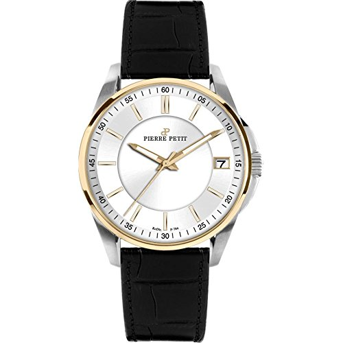 Pierre Petit Women's P-784B Serie Le Mans Two-Tone Date Black Leather Watch