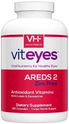 VITEYES AREDS 2 Zinc Free Formula, Promotes Eye Health and Protects Vision, 180 Count - Single Daily Dose Eye Vitamin