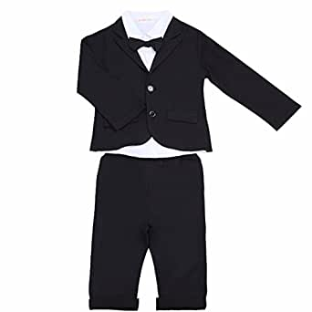 FEESHOW Baby Boys' 3Pcs Gentleman Formal Tuxedo Suit Top Shirt Coat with Pants Outfit Set 6-12 Months Black & White