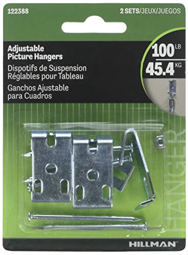 Hillman 122388 Adjustable Picture hanger 100 Lb Card - 10 Pack