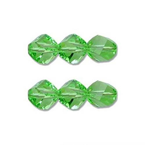 (6 Peridot Helix Swarovski Crystal Beads 5020 8mm New)