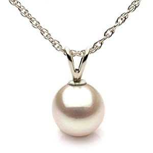 14K White Gold 8-9mm White Freshwater Cultured Pearl Pendant AAA Quality, Chain Not Included