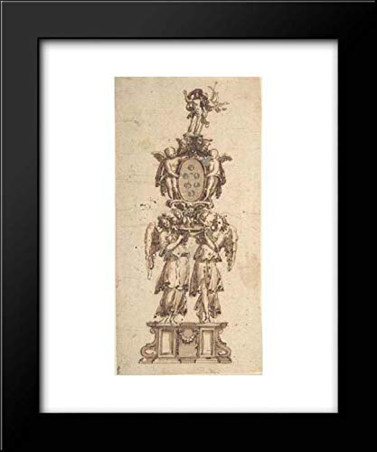 Anonymous Artist, Italian, 16th to Early 17th Century - 15x18 Framed Museum Art Print- Design for a (Temporary?) Structure consisting of Two Angels carring The Medici Coat of Arms Crowned by The Figu