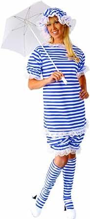 Alexanders Costumes Bathing Suit Female, Blue/White, Medium