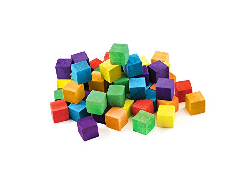"Multicraft Imports Craftwood Wooden Cubes 5/8"" 36/Pkg-Colored"