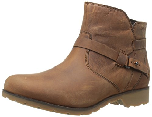 Teva Women's Delavina Ankle Premium Leather Boot Brown (Bison-bis)