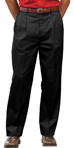 Ed Garments Men's Pleated Front Chino Utility Pant, BLACK, 34 28