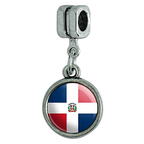 (Italian European Style Bracelet Charm Bead Country National Flag C-I - Dominican Republic National Country Flag)