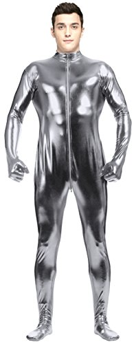[VSVO Adult Gray Metallic Front Zipper Bodysuit with Gloves and Socks (X-Large, Gray)] (Latex Wolf Suit)