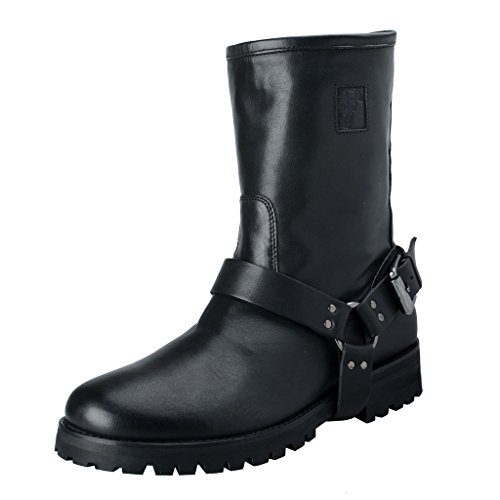 Versace-Collection-Mens-Black-Leather-Motorcycle-Boots-Shoes