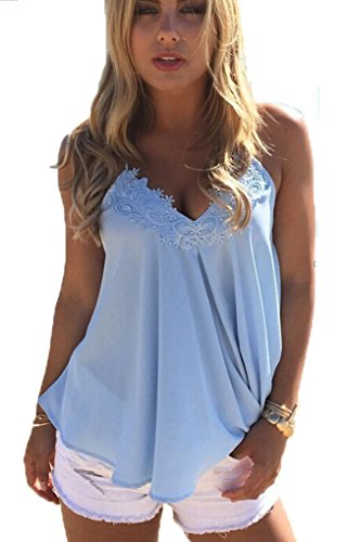 OURS Womens Loose Lace Crochet Sleeveless Chiffon Blouse Flowy Tank Top Shirt (XL, Sky Blue) - Lace Spaghetti Strap