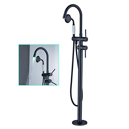 Zovajonia Oil Rubbed Bronze LED Light Bathroom Floor Mounted Tub Filler Shower Faucet Set Free Standing Bathtub Mixer Tap
