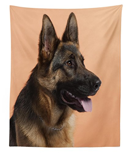 Lunarable German Shepherd Tapestry Twin Size, Close-up Photo of a Young Dog in Front of Orange Backdrop, Wall Hanging Bedspread Bed Cover Wall Decor, 68