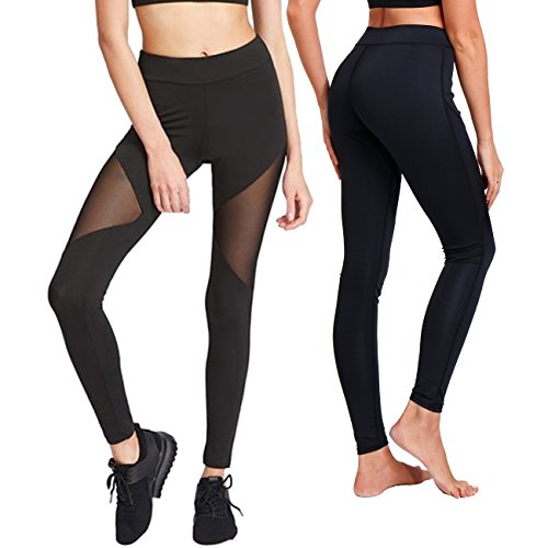 KIWI RATA Women Sports Mesh Trouser Gym Workout Fitness Capris Yoga Pant Legging (S, Black-Thigh Mesh)