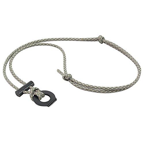 PSKOOK Paracord Survival Necklace Fire Starter Kit / Tool Ferro Rod Flint and Steel Scraper Gear Outdoor Magnesium Pendant (ACU Camo) Ferros Mini Pendant