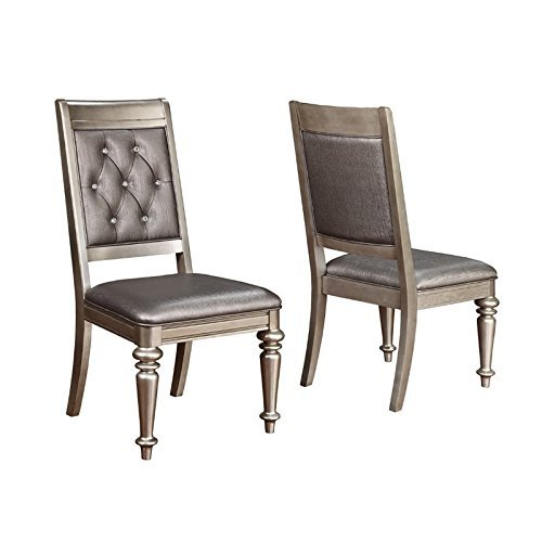 Danette Upholstered Side Chairs with Tufted Back Metallic Platinum (Set of 2)