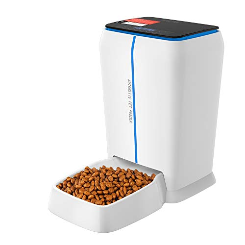 TRIPLE TREE Automatic Pet Feeder 1.2 Gallon, Pet Food Dispenser for Dogs Cats with Voice Recorder and Timer Programmable Up to 4 Meals