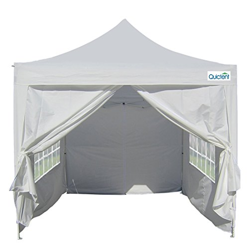 Quictent Silvox Waterproof 8×8′ EZ Pop Up Canopy Commercial Gazebo Party Tent White Portable Pyramid-roofed Style Removable Sides With Roller Bag