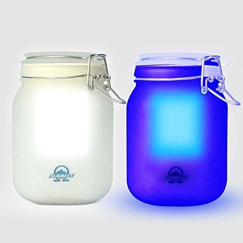 Sun Jar Solar Powered Night Light Lamp (White), Set of 2 - 6