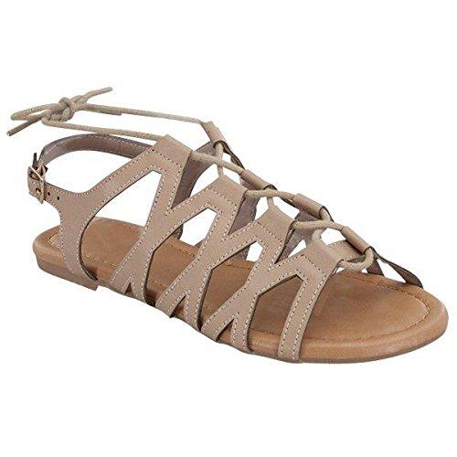 Mode-schoenen Dames Veterschoen Gladiator Sandalen Taupe