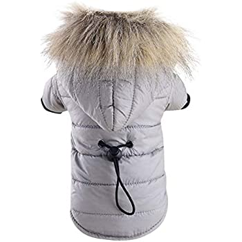 BingYELH Pet Snowsuit Windproof Faux Fur Puppy Parka Coat Adjustable Dog Winter Jacket with Hood Dog