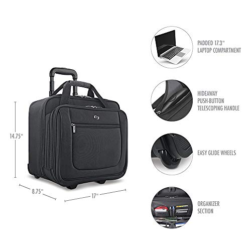 41SW3ONyCdL - Solo New York Bryant Rolling Laptop Bag. Rolling Briefcase for Women and Men. Fits up to 17.3 inch laptop - Black