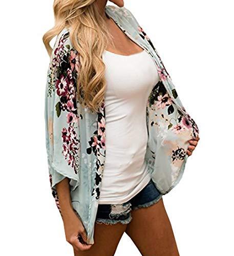Giovane Casual Shawl Cardigan Kimono Maniche 3 E Simple Camicie Floreali Donne 4 Autunno Cime Primavera Chiaro Moda Verde Spiaggia Bluse Tops Da fashion RqYwwZpP