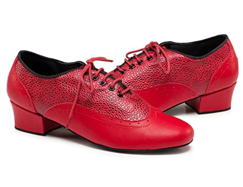 Latin Shoes Toe Red Tango Rumba PU Lace CRC Ballroom Leather Men's Stylish up Round Jazz Salsa Professional Morden Dance qSHgp