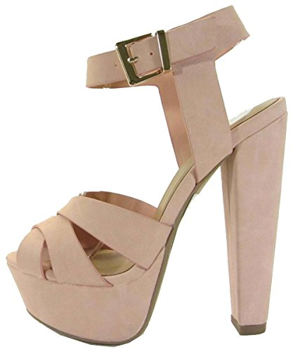 Delicious Women's Crisscross Strappy Platform Chunky Heel Sandal (9 B(M) US, Pink Nbpu)