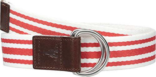 Cole Haan Women's 38mm D-Ring Webbing Pinch Belt, True Red/White with Woodbury, - D-ring Belt Ladies