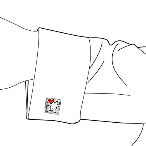 Bling Jewelry Jaime Mon Papa carr/é Coeur Rouge Hommes Boutons de Manchettes Manchette Papa P/ère Cadeaux en Laiton plaqu/é Acier /émail