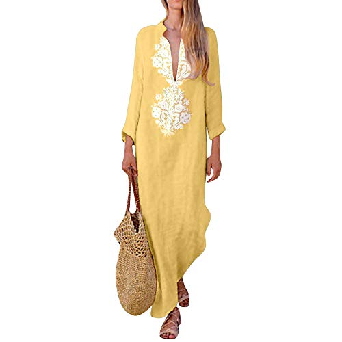 Women Dress Long Sleeve Vintage V-Neck Print Irregular Hem Split Maxi Dress (2XL, Yellow)