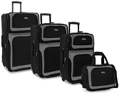 U.S. Traveler New Yorker Lightweight Softside Expandable Travel Rolling Luggage Set, Black, 4-Piece (15/21/25/29)