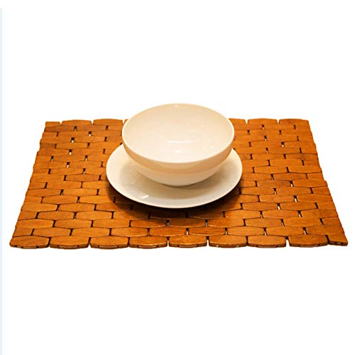 (HANKEY Bamboo Place Mats, Dining Mat, Decoration for Table, Heat Insulation Hexagon Natural Color Set of 4)