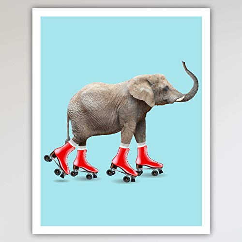 Elephant Roller Skating Art Print Poster - Fun and Cute, Elephant on Red Roller Skates Kid's Bedroom, Nursery & Home Wall Decor - This Loveable Art Print Poster Measures 11x14 inches, Unframed