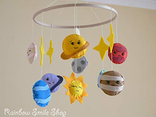 Baby mobile Solar system mobile Space nursery mobile Planets Baby Crib  Mobile Baby boy mobile Handing mobile Space Nursery Decor Felt mobile