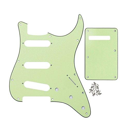 FLEOR SSS 8 Hole Vintage Strat Pickguard Guitar Back Plate with Screw Set for Vintage Strat Style Guitar Parts, 3Ply Mint ()