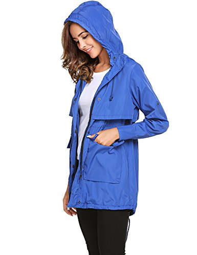 Women Jackets with Lightweight Drawstring Hoodie Solid Sleeve Raincoat Blue Meaneor Long dqpzFdw