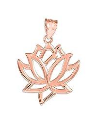 10k Rose Gold Lotus Flower Pendant