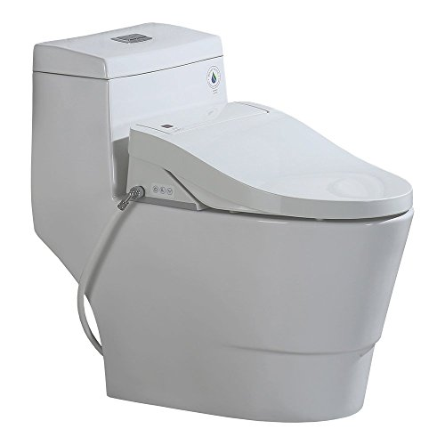 WoodBridge T-0008 Luxury Bidet Toilet, Elongated One Piece Toilet with Advanced Bidet Seat, Smart Toilet Seat with Temperature Controlled Wash Functions and Air Dryer by Woodbridgebath (Image #1)