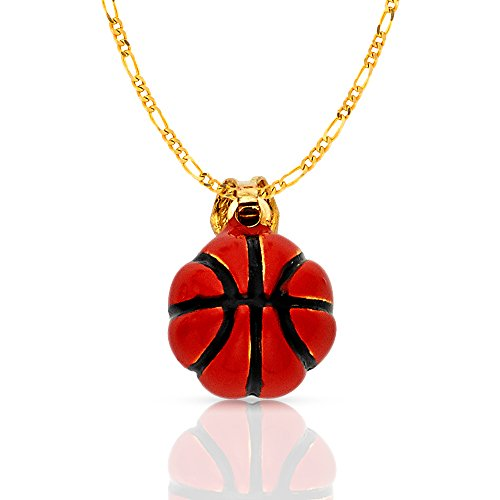 Ioka Jewelry - 14K Yellow Gold Basketball Enamel Charm Pendant with 2.3mm Figaro 3+1 Chain Necklace - - Yellow Gold Chain Figaro 13mm