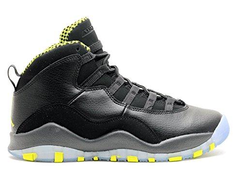 Nike Air Jordan 10 Retro Bg, Zapatillas de Deporte para Niños Negro / Verde / Gris (Black / Vnm Green-Cl Gry-Anthrct)